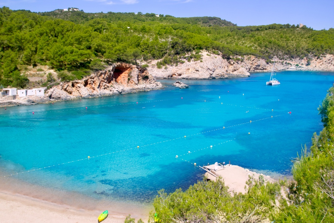 'Ibiza Port de San Miquel San Miguel beach with turquoise water' - Ibiza