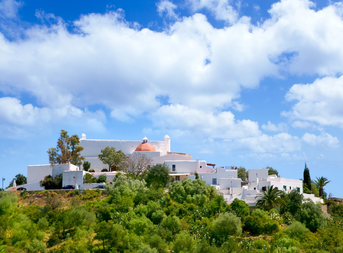 'Ibiza Santa Eulalia des Riu with houses typical town in Balearic islands' - Ibiza